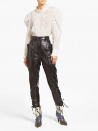 ISABEL MARANT Cadix black lace-up leather trousers