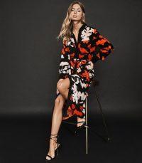REISS CATHLEEN FLORAL PRINTED SHIRT DRESS BLACK/ MULTI