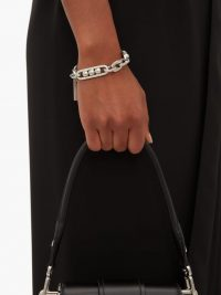 PRADA Silver chain-link brushed brass bracelet