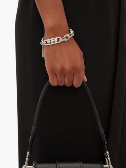 PRADA Silver chain-link brushed brass bracelet