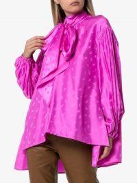 Chloé Pussybow C Logo Blouse / pink asymmetric blouses