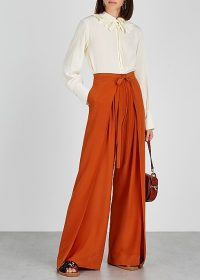 CHLOÉ Rust wide-leg silk trousers ~ draped pants