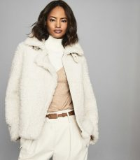 REISS CLARICE REVERSIBLE CURLY SHEARLING JACKET CREAM ~ casual luxe