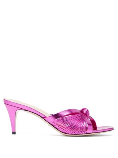 GUCCI Crawford knotted leather mules ~ metallic-pink heels