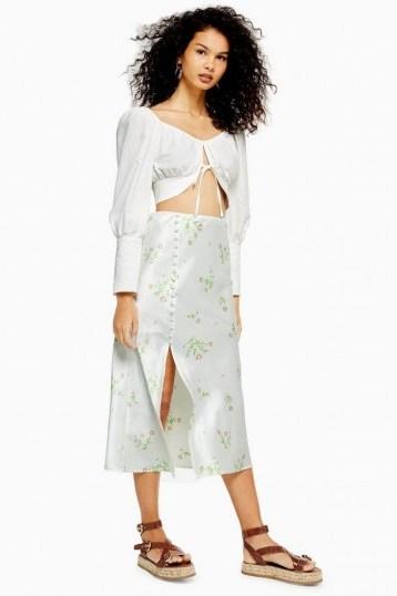 TOPSHOP Cream Daisy Button Bias Midi Skirt - flipped