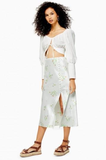 TOPSHOP Cream Daisy Button Bias Midi Skirt