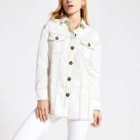 River Island Cream long sleeve twill shirt | western style shirts