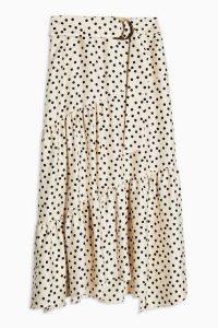 Topshop Cream Spot Tiered Midi Skirt