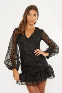 IN THE STYLE CRISTIE BLACK POLKA ORGANZA PUFF SLEEVE DRESS ~ sheer sleeved dresses