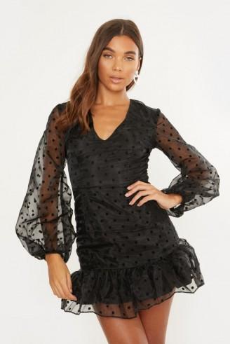 IN THE STYLE CRISTIE BLACK POLKA ORGANZA PUFF SLEEVE DRESS ~ sheer sleeved dresses