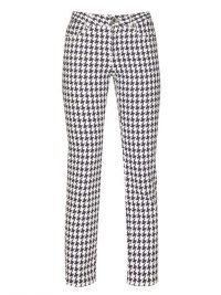 ALEXANDER MCQUEEN Cropped houndstooth-denim trousers in | checked pants