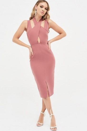 LAVISH ALICE cross over neck midi dress in dusty rose ~ pink pencil dresses - flipped