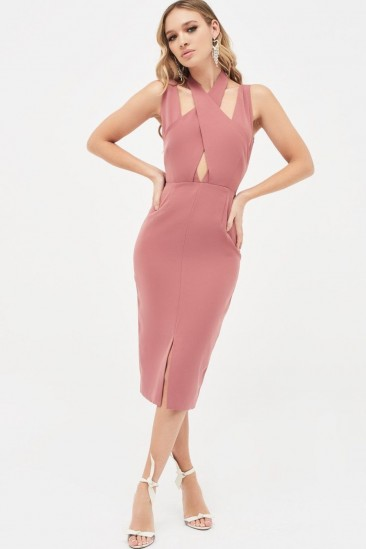 LAVISH ALICE cross over neck midi dress in dusty rose ~ pink pencil dresses