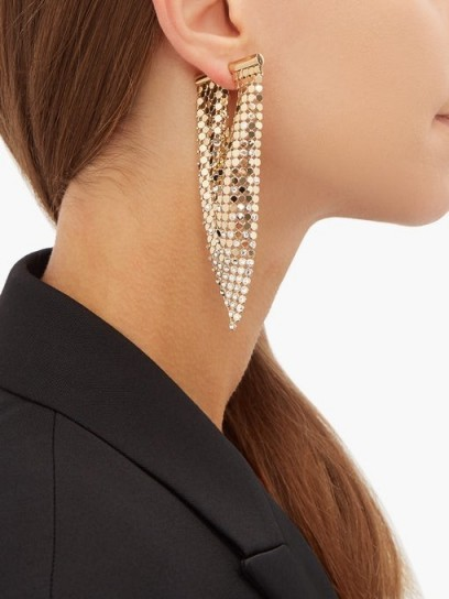 PACO RABANNE Crystal-embellished chainmail earrings ~ single statement earring