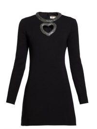 SAINT LAURENT Crystal-embellished knitted mini dress ~ lbd