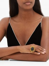DOLCE & GABBANA Crystal-embellished sunflower ring ~ beautiful Italian statement jewellery