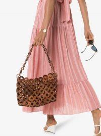 Cult Gaia Brown Jasmin Shoulder Bag ~ wood top handle bags