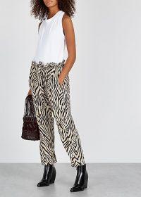 CURRENT/ELLIOTT Roxwell zebra-print trousers ~ wild animal prints