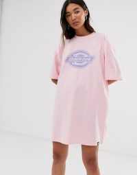 Dickies oversized t-shirt dress with logo in pink