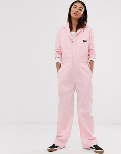 Dickies relaxed boiler suit with woven badge in pink