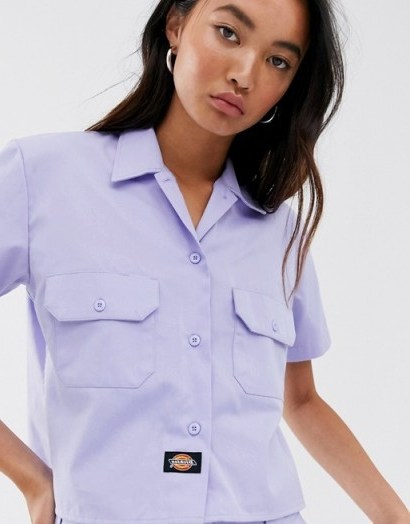 Dickies relaxed boxy shirt in lilac - flipped