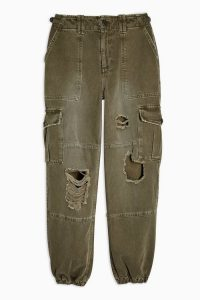 Topshop Distressed Cuff Utility Trousers | ripped green pants