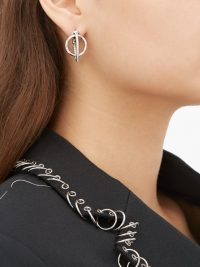 ALAN CROCETTI Dita crystal & sterling-silver hoop earrings ~ modern interlocking hoops