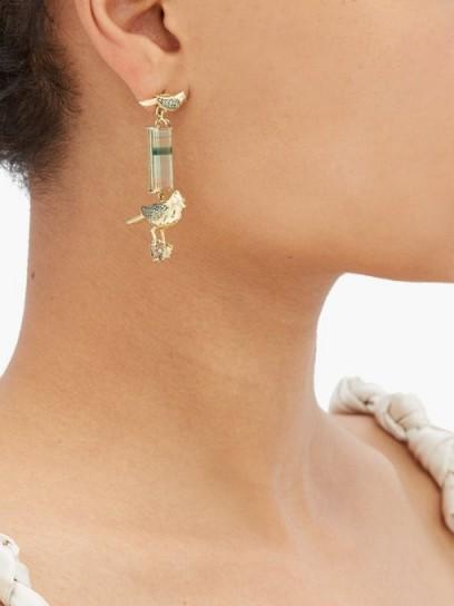 DANIELA VILLEGAS Do Re Mi tourmaline, sapphire & 18kt gold earrings ~ bird drops