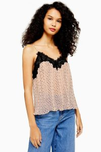 Topshop Dobby Lace Cami Pale Pink