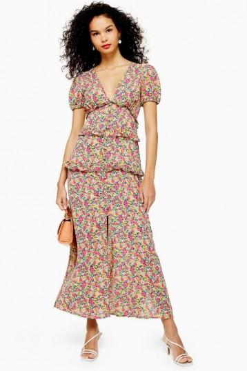 TOPSHOP Dobby Spot Ruffle Midi Dress / floral dresses