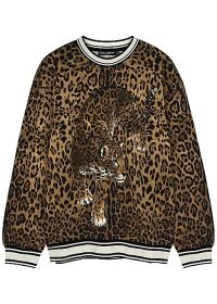 DOLCE & GABBANA Leopard-print jersey sweatshirt ~ animal printed sweatshirts