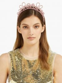 SIMONE ROCHA Double Wiggle crystal-embellished hairband | pink beaded hairbands | luxe hair accessory