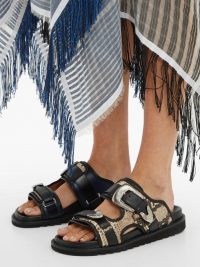 TOGA Double-strap python-effect leather slides / chunky summer flats