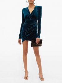 ALEXANDRE VAUTHIER Draped wrap-style velvet mini dress