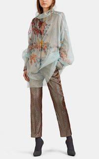 DRIES VAN NOTEN Floral Sheer Silk Tulle Top in Light-Blue