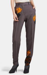 DRIES VAN NOTEN Rose-Print Wool Straight Trousers in Grey