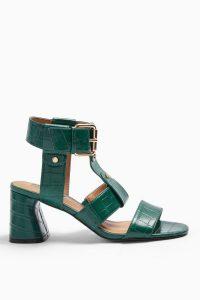 TOPSHOP DYLAN Green Crocodile Sandals / chunky croc sandal