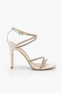 boohoo Embellished Multi Strap Heel Sandals ~ white strappy heels