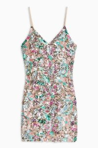 Topshop Embellished Slip Dress – multicoloured sequins – skinny strap evening mini