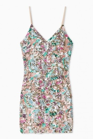 Topshop Embellished Slip Dress – multicoloured sequins – skinny strap evening mini - flipped