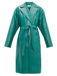 BALENCIAGA Exaggerated-shoulder green-leather wrap coat ~ luxury twist on a classic style