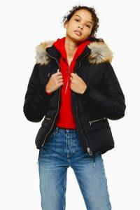 TOPSHOP Faux Fur Hooded Puffer Jacket in Black