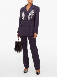 CHRISTOPHER KANE Faux pearl-fringed double-breasted wool blazer ~ embellished navy-blue jacket