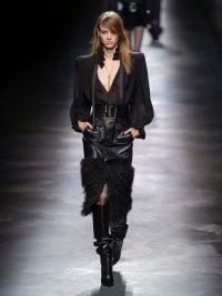 SAINT LAURENT Faux-fur trim black leather skirt