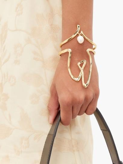 CHLOÉ Femininities pearl-embellished cuff ~ gold-tone cuffs