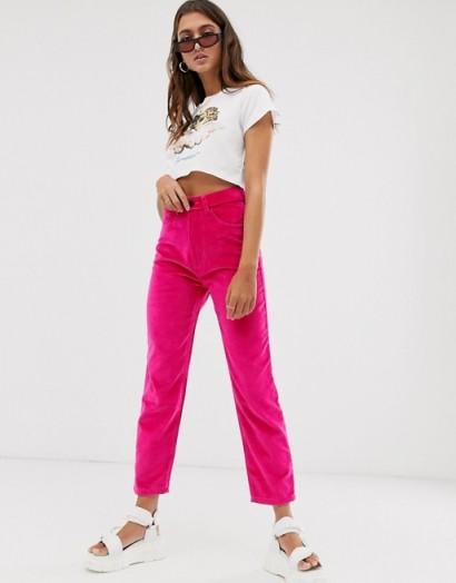 Fiorucci Tara velvet straight leg jean in hot-pink
