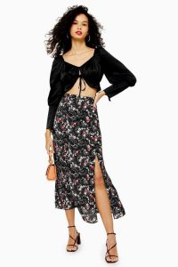 TOPSHOP Floral Double Split Midi Skirt in Black