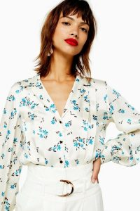 TOPSHOP Floral Pintuck Shirt in Cream