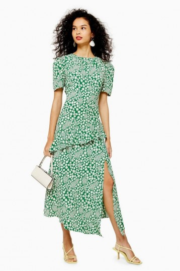 TOPSHOP Floral Slit Ruffle Midi Dress in Green / summer vintage look