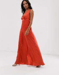 Flounce London minimal satin maxi dress in rust | plunge front party dresses
